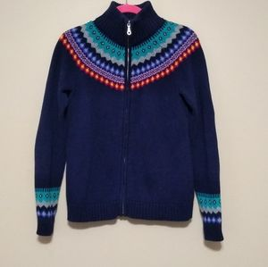 Talbots zip up fair isle sweater size small